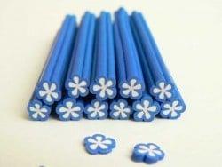 Cane fleur bleue coeur blanc en pâte fimo - à découper en tranches  - 1