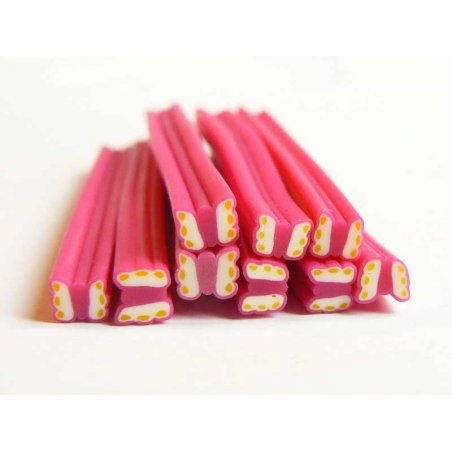 Butterfly cane - pink with yellow spots