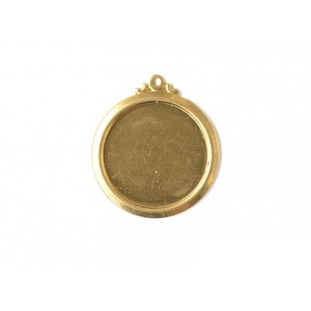 Plaque à frapper médaillon avec anneau perforé - doré