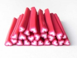 Heart cane - pink and white