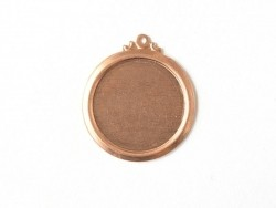 Medallion-shaped stamping blank with a loop - copper-coloured