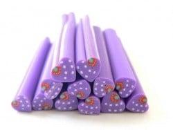 Cane coeur violet à pois et fraise  - 1
