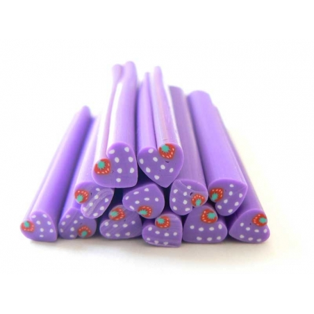 Violet, heart-shaped cane with a strawberry