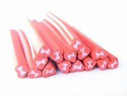 Herzcane - rot mit rosafarbener Schleife