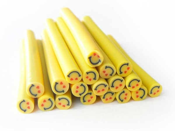 Smiley in love cane - yellow