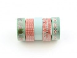 5 masking tape hiver - menthe/rouge