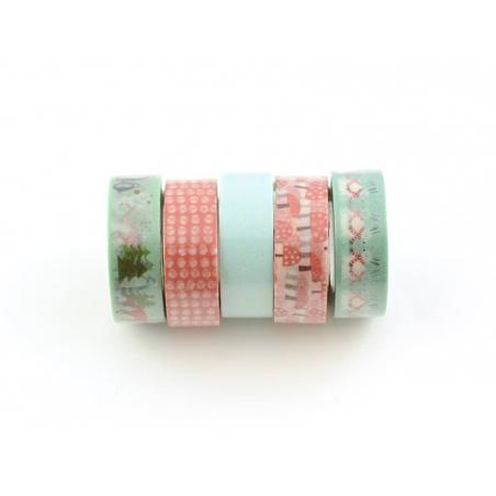 5 masking tape hiver - menthe/rouge Rico Design - 1