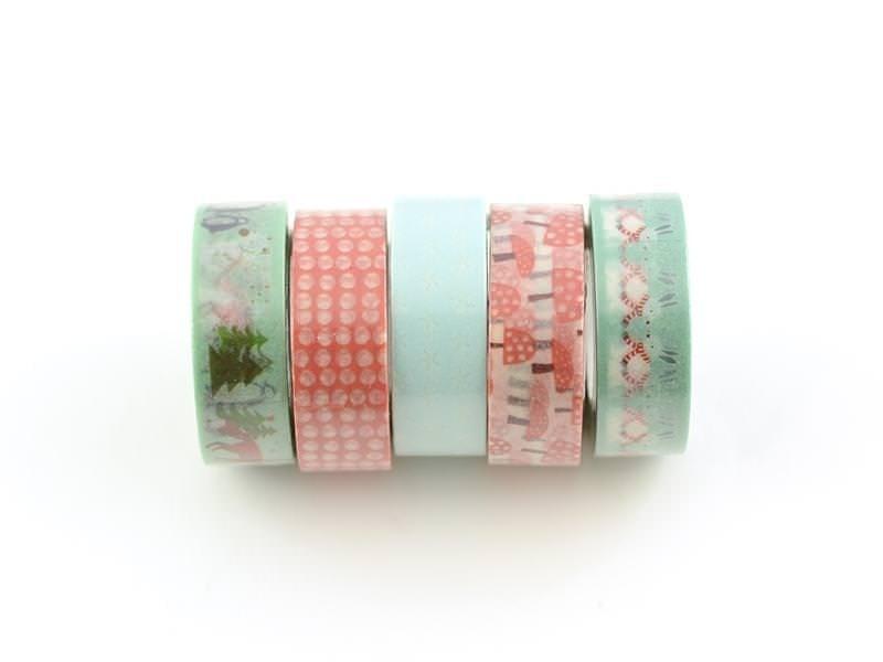 Acheter 5 masking tape hiver - menthe/rouge - 11,90€ en ligne sur La Petite Epicerie - Loisirs créatifs