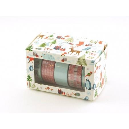 5 masking tape hiver - menthe/rouge Rico Design - 2