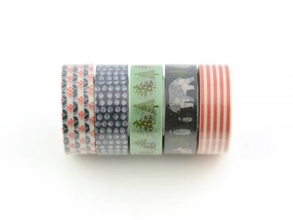 5 masking tape hiver -bleu/rouge Rico Design - 1
