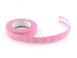 Fabric tape dentelle - rose