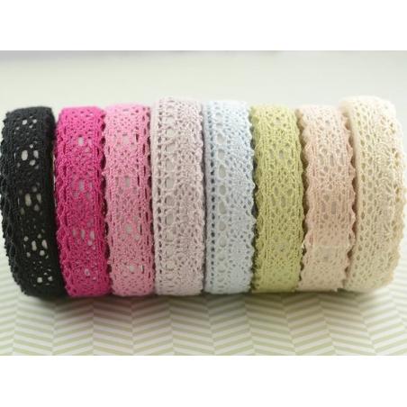 Fabric tape dentelle - rose