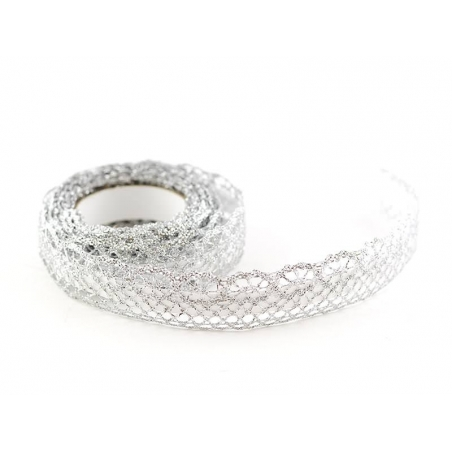 Fabric tape (lace) - silver-coloured
