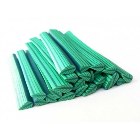 Cane feuille - vert et vert clair en pâte fimo - à découper en tranches  - 1