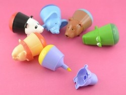 6 felt pens for children - wild animals