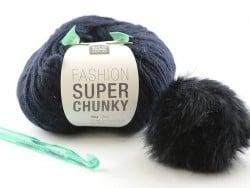 Chunky crochet kit - navy-blue hat