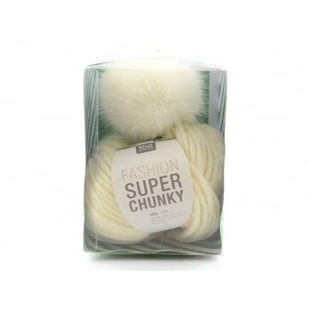 Kit crochet chunky - bonnet blanc