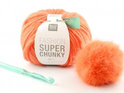 """Häkelset - """"Chunky"""" - orangefarbene Mütze"""