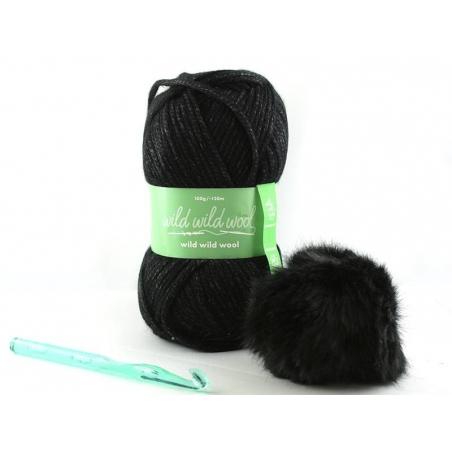 Kit crochet - bonnet noir Rico Design - 1