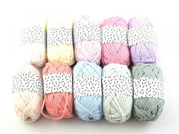 10 mini pelotes coton - pastel