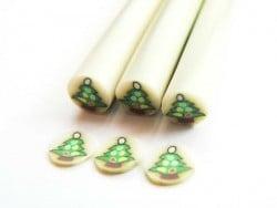 Cane Sapin de Noël coloré en pâte fimo