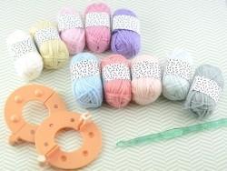 10 kleine Acrylknäuel - Pastell