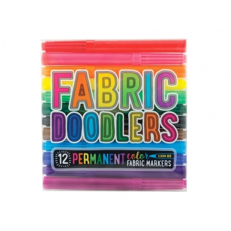 12 fabric markers - bright colours