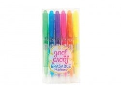 "6 erasable markers - ""Goof proof"""