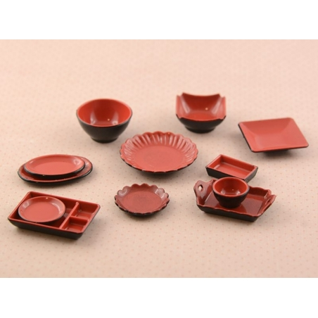 Red and black miniature tableware