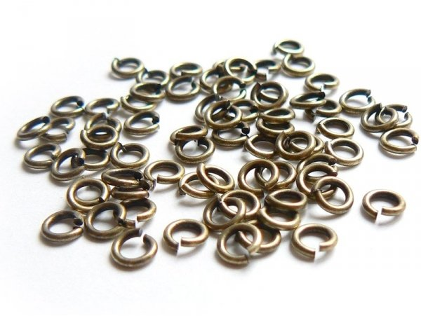 100 bronze-coloured jump rings, 4 mm