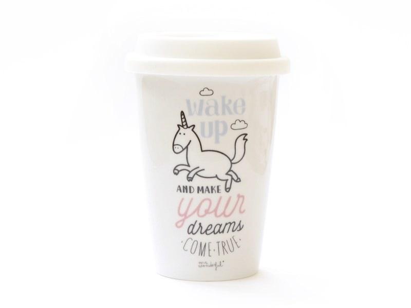 """Mug à emporter """"Wake up and make your dreams come true"""""""