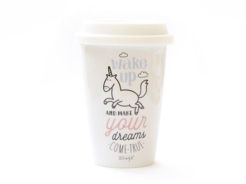 "Travel mug - ""Wake up and make your dreams come true"""