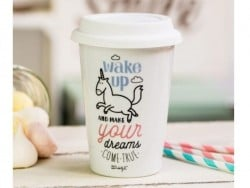 "Mug à emporter ""Wake up and make your dreams come true"""