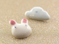 broche lapin tout doux - céramique