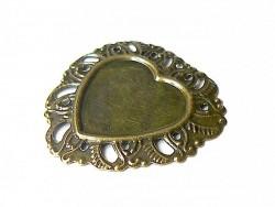 Bronzefarbene, herzförmige Fassung für Cabochons