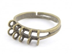 Ring with 10 jump rings - bronze-coloured