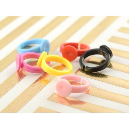 Plastic ring blank for children - bright pink