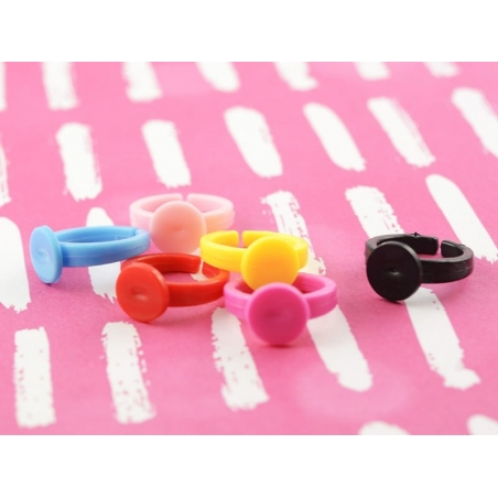 Plastic ring blank for children - red