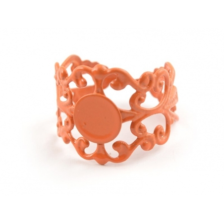 Baroque openwork ring blank - orange