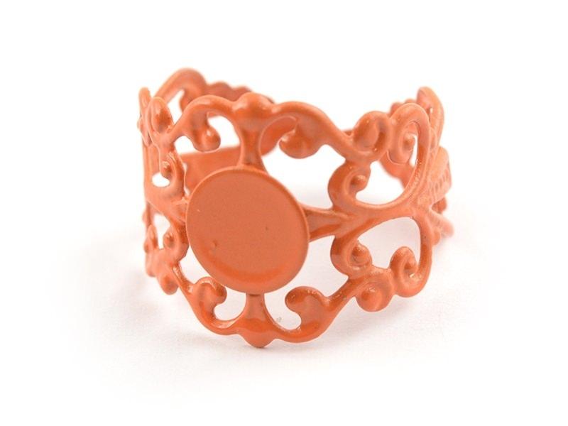 Support de bague baroque ajouré - orange