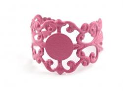 Baroque openwork ring blank - pink
