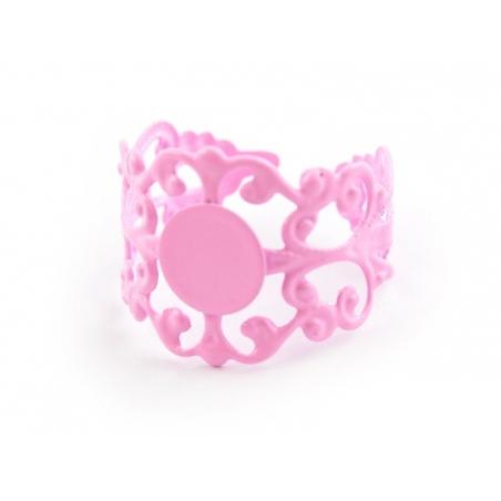 Baroque openwork ring blank - pale pink