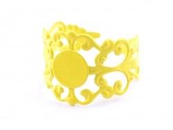 Support de bague baroque ajouré - jaune