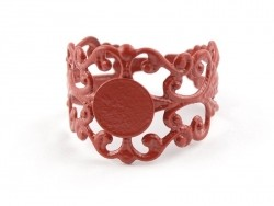 Baroque openwork ring blank - red