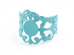 Baroque openwork ring blank - turquoise