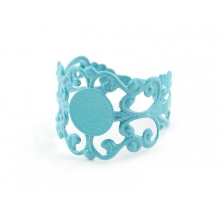 Support de bague baroque ajouré - bleu turquoise