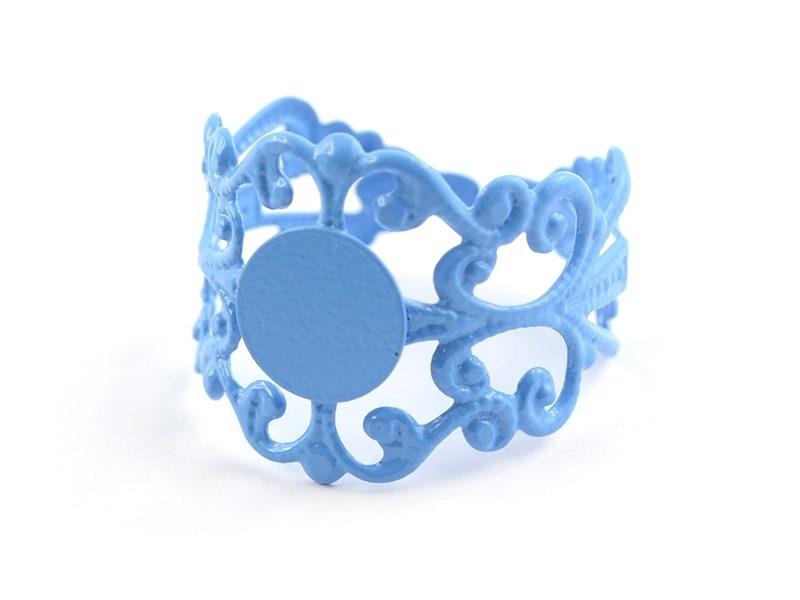 Support de bague baroque ajouré - bleu