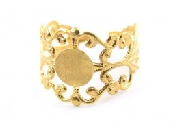 Baroque openwork ring blank - golden