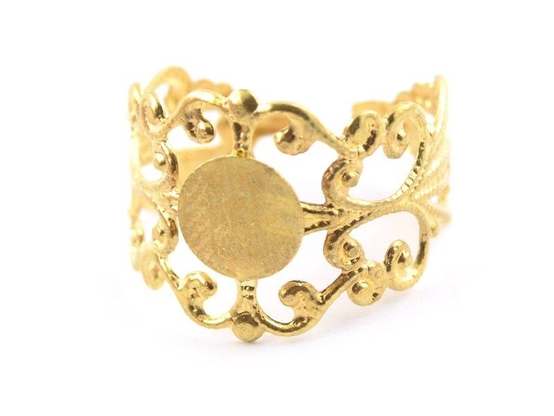 Baroque openwork ring blank - golden