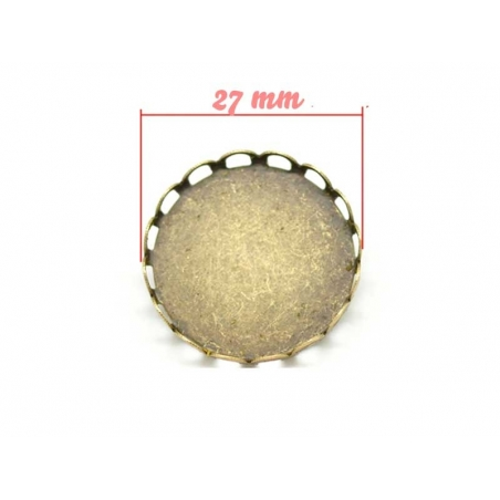 Support broche pour cabochon rond BRONZE